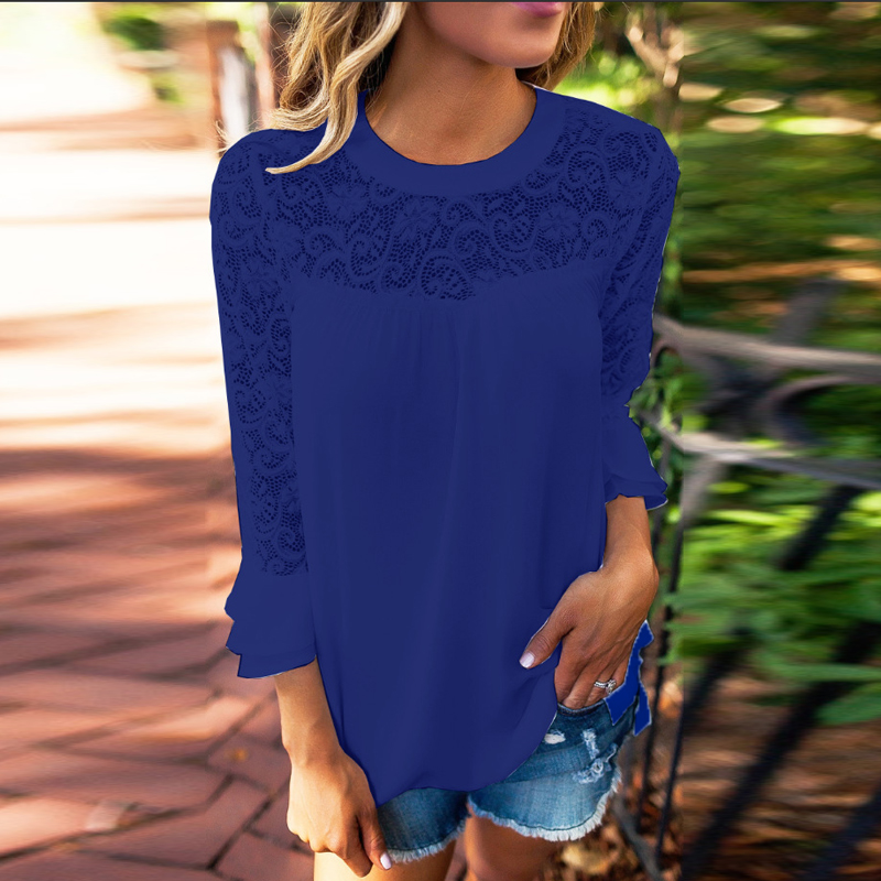 Women-Lace-Crochet-Casual-Patchwork-Shirt-Tops-Crew-Neck-Loose-Ladies-Blouse