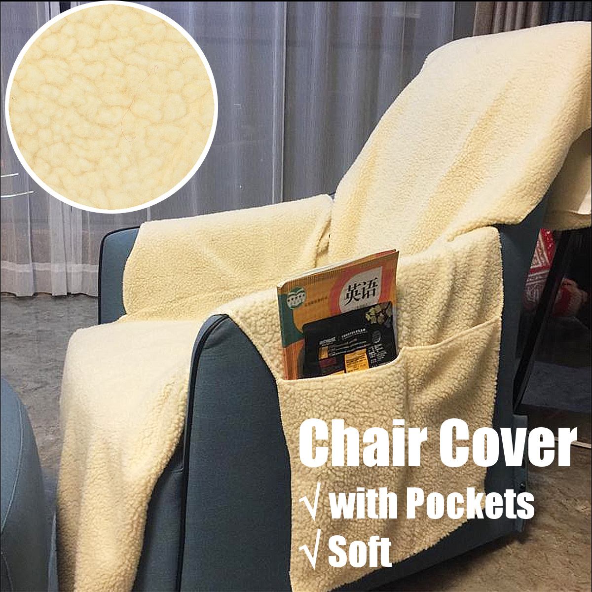 Recliner Chair Cover Protector w// Pockets for Remotes and Cellphones