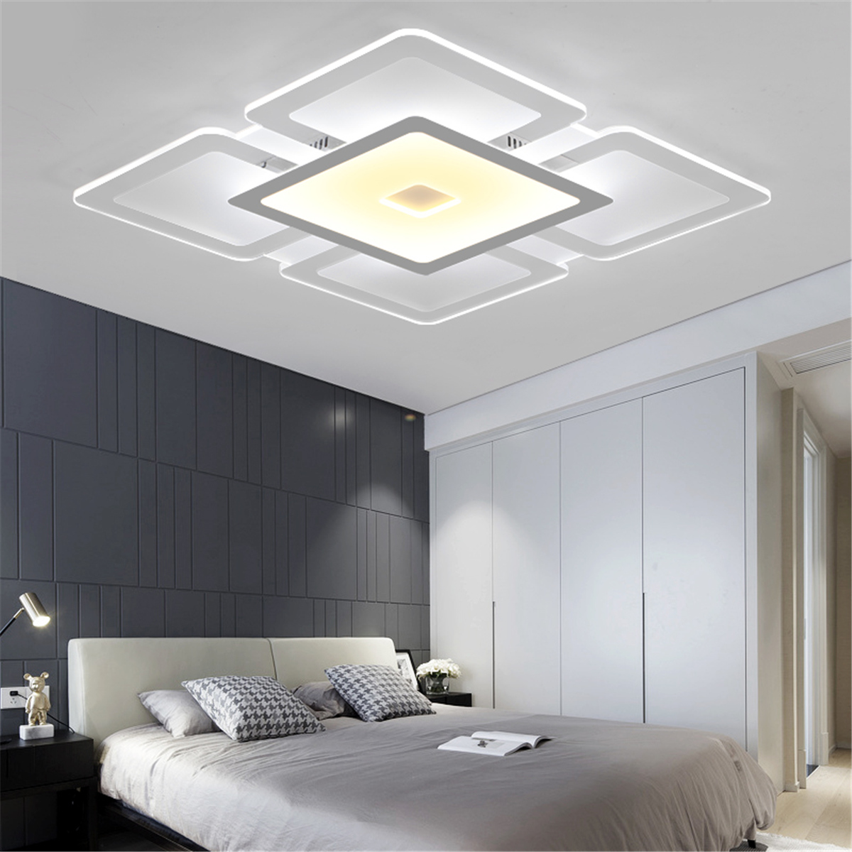 Modern Rectangular Acrylic LED Ceiling Light Living Room Bedroom ...