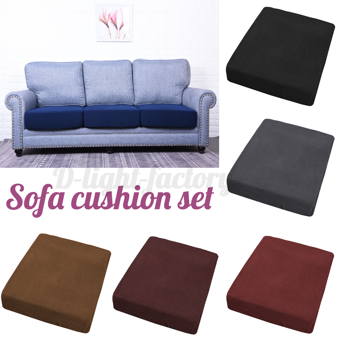 Image is loading 1 4 pcs stretchy sofa seat cushion covers