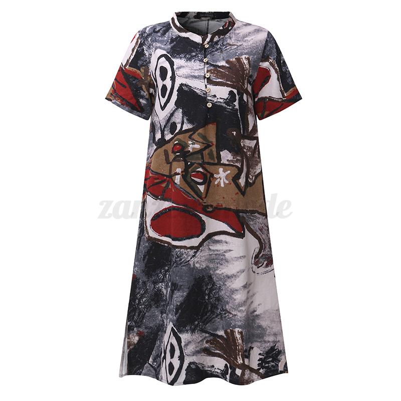 Zanzea-Women-Cotton-Short-Sleeve-Floral-Printed-Buttons-Down-Shirt-Dress-Blouses
