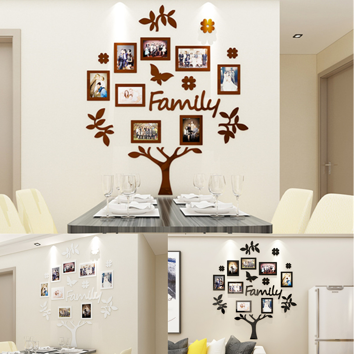Details About Diy 3d Paper Family Wedding Tree Photo Pictures Collage Frame Wall Art Decor