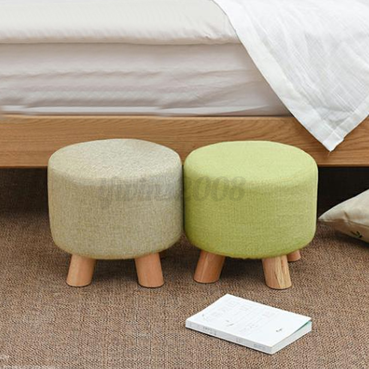 Prime Details About Footstool Small Round Wood Pouffe Chair Ottoman Foot Stool Foot Rest Padded Caraccident5 Cool Chair Designs And Ideas Caraccident5Info