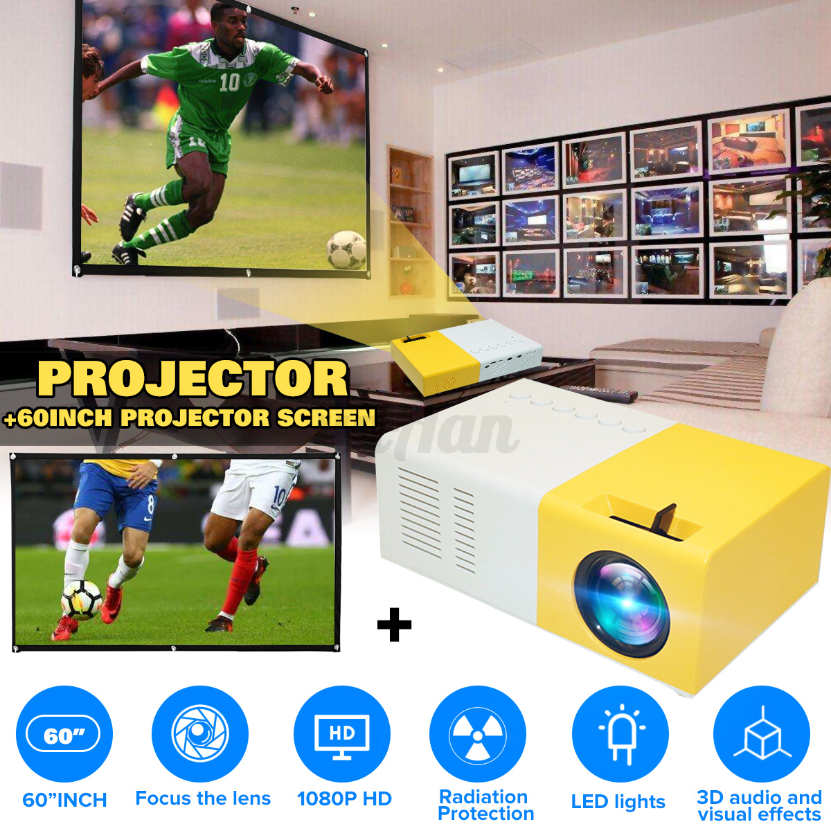 "60"" Projection Screen+ UK Plug"