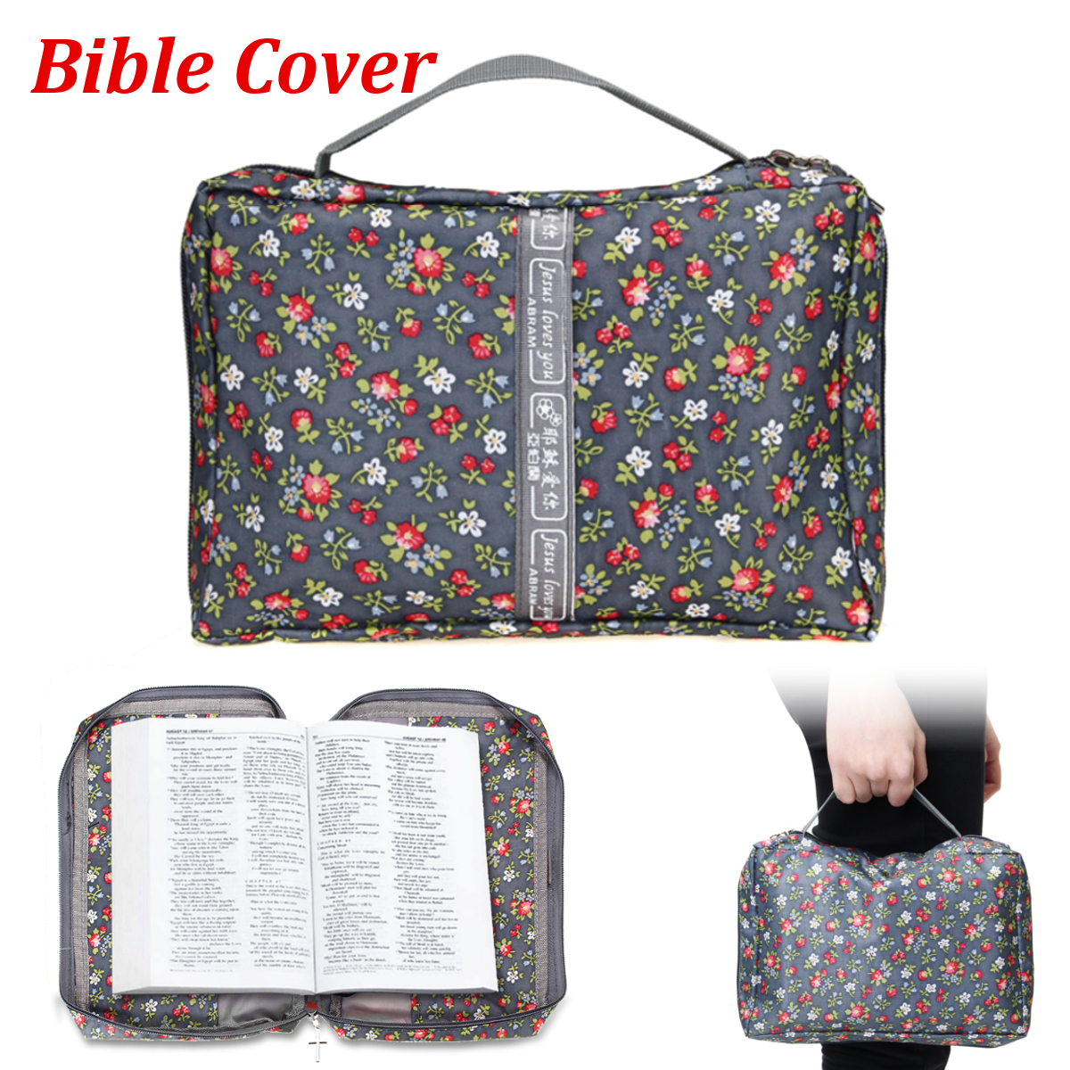 63f3721bdad1 Bible Cover Storage Protective Holy Book Tote Bag Religious Carry ...