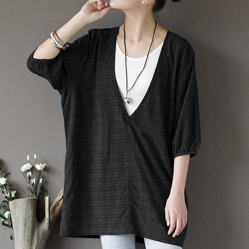 ZANZEA-Women-Summer-Short-Sleeve-Pullover-Blouse-Shirt-Tee-Plus-Size-Cotton-Top