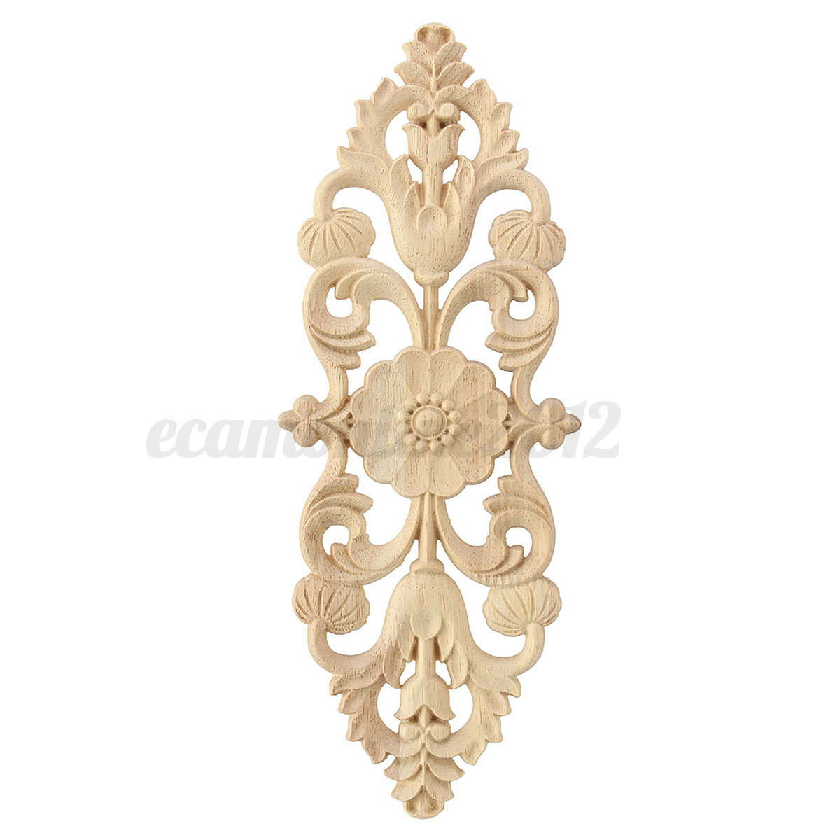 2 4x wood carved long onlay applique unpainted furniture for Applique decoration