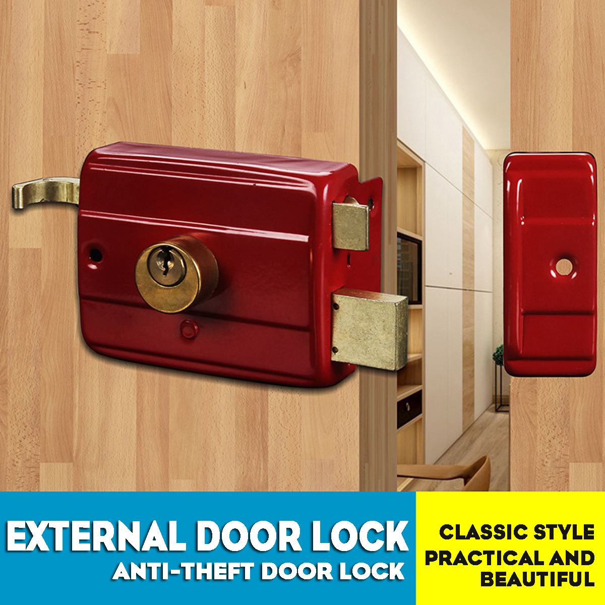 Details about Home Bedroom Door Safety Double Bolts Cylinder Deadbolt Rim  Lock Set with Keys