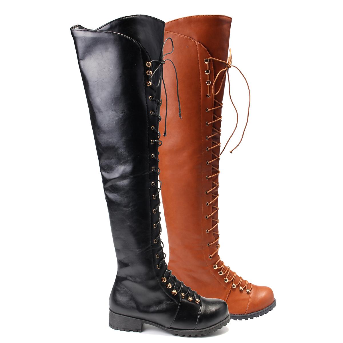 damen overkneestiefel stiefeletten schn r stiefel boots riemchen winterschuhe ebay. Black Bedroom Furniture Sets. Home Design Ideas