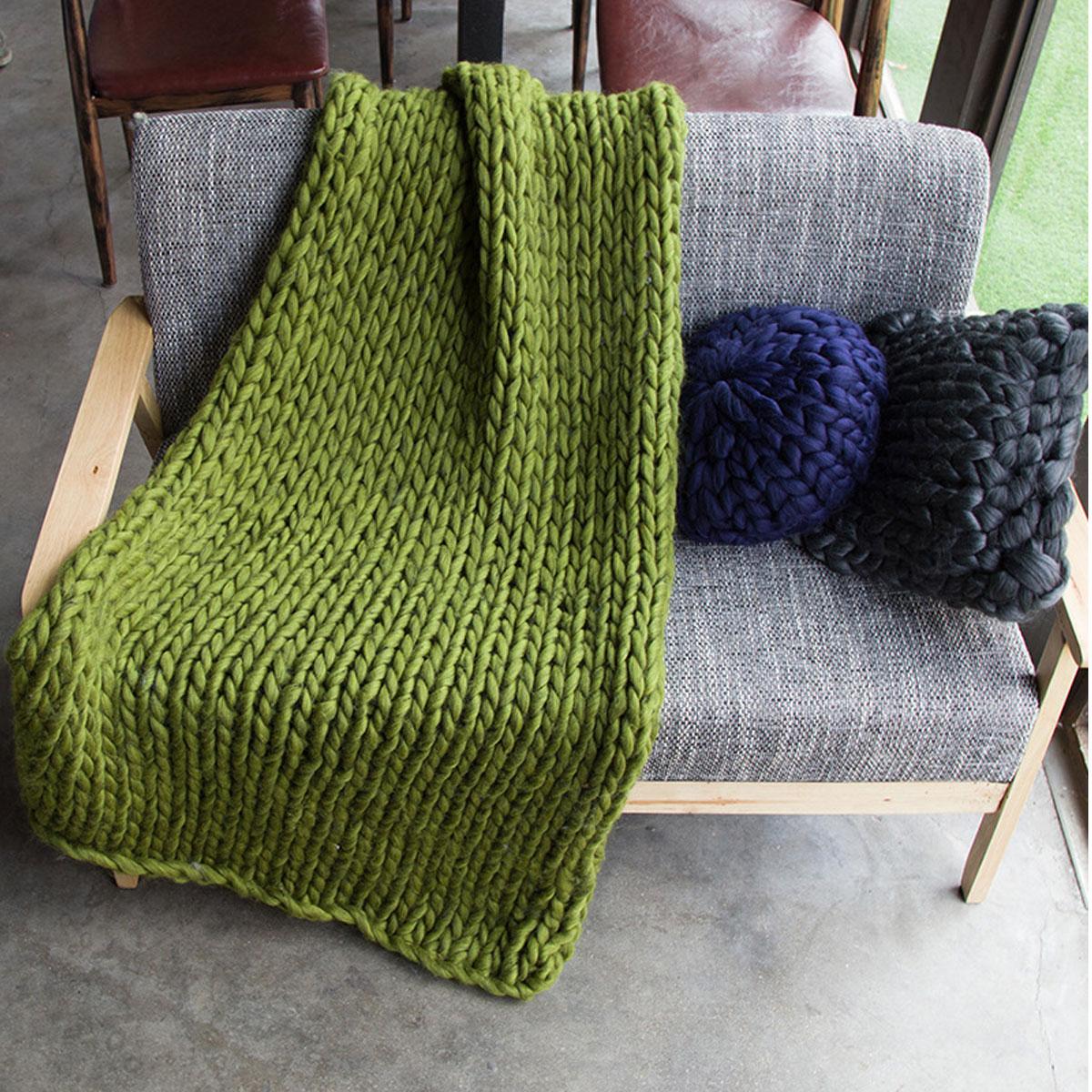 Warm Handmande Chunky Knit Blanket Thick Yarn Merino