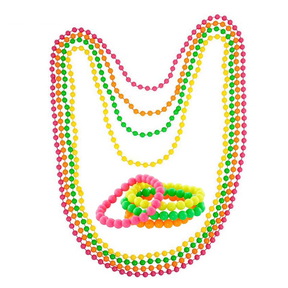 4pcs Neon Beads Plastic Bracelet 80s Party Disco Hen Night Party Fancy Dress