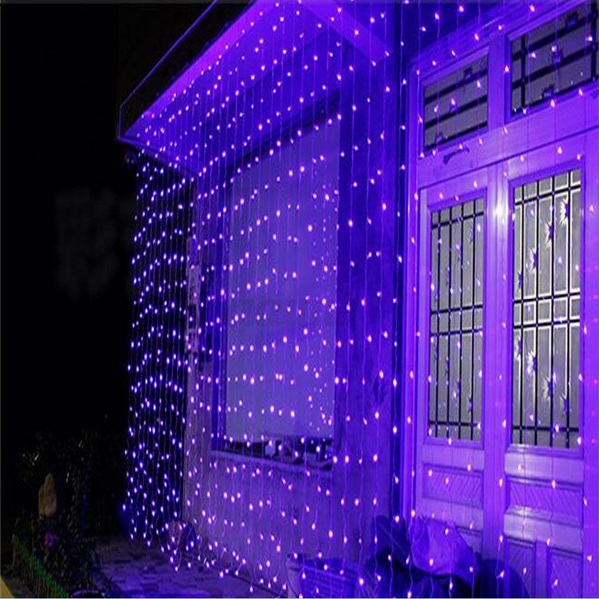 3mx3m 300 led curtain icicle lights string fairy light. Black Bedroom Furniture Sets. Home Design Ideas