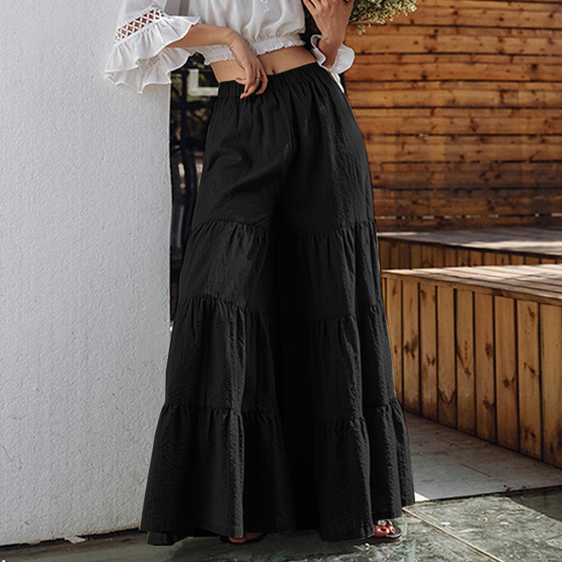 thumbnail 12 - UK Womens Summer Casual Loose Baggy Flare Wide Leg Pants Culottes Skirt Trousers