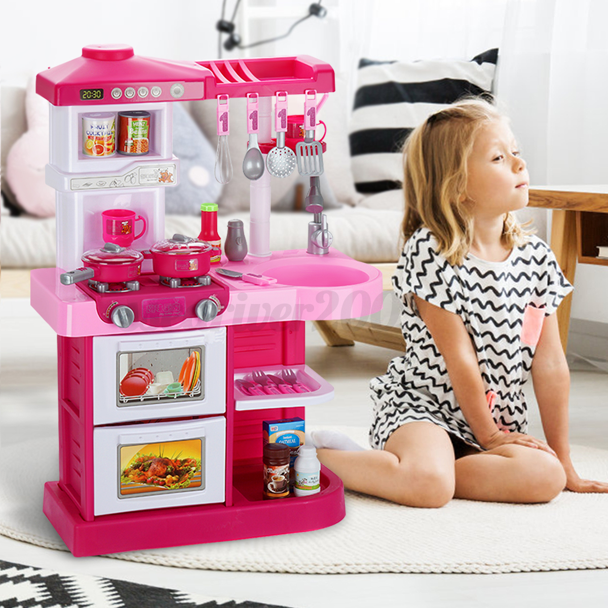 Pretend Kitchen Cookware Play Set Toy kids Cooking Food Girl Pink w Music Light