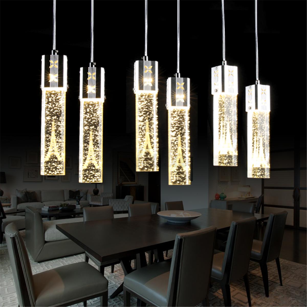Tower Led Crystal Ceiling Light Bubble Bar Pendant