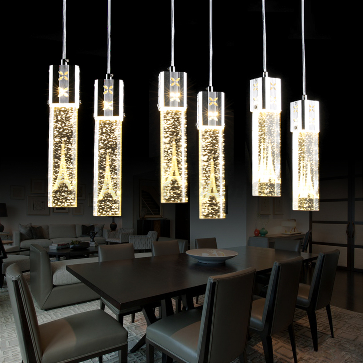 Tower Led Crystal Bubble Light Chandelier Ceiling Pendant