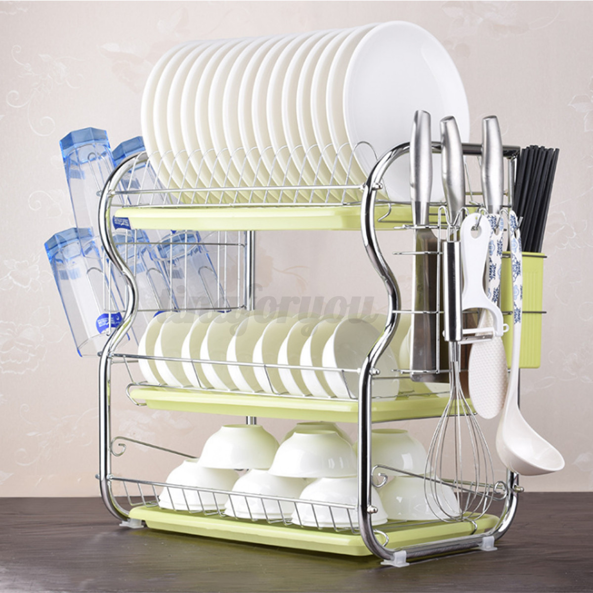 3-Tier-Chrome-Dish-Drying-Rack-Drainer-Cutlery-Cups-Holder-Drip-Kitchen-5-Sponge thumbnail 10