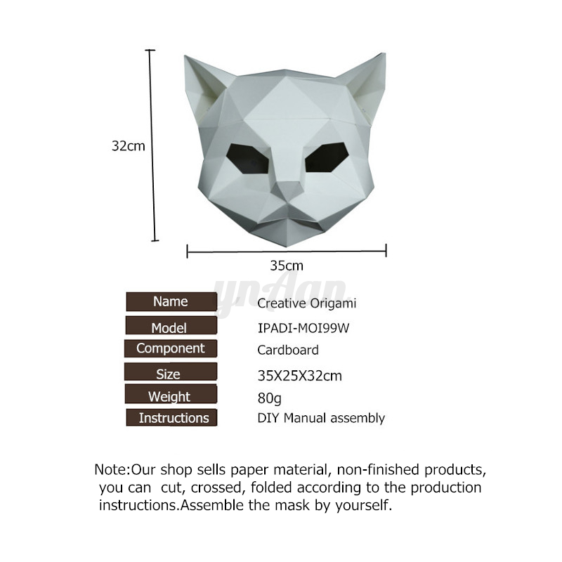 DIY Paper Mask Animal Head Creative Party  Costume Cosplay Masquerade Funny