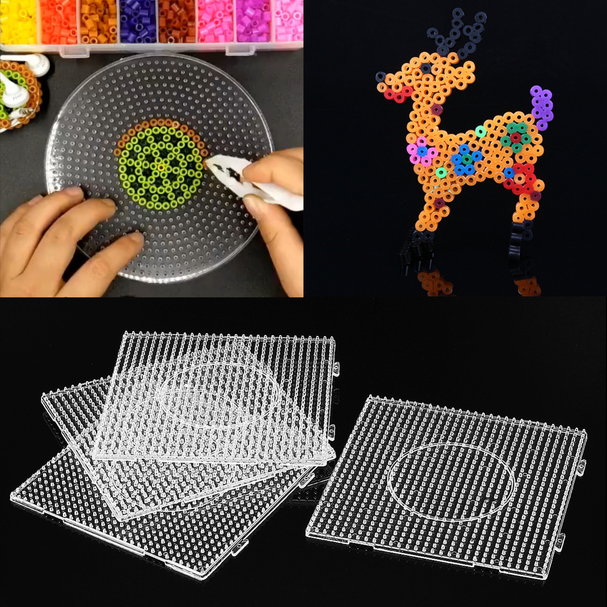 Big  Pegboards for Perler Bead Hama Fuse Beads Clear Square Design Board #CF7