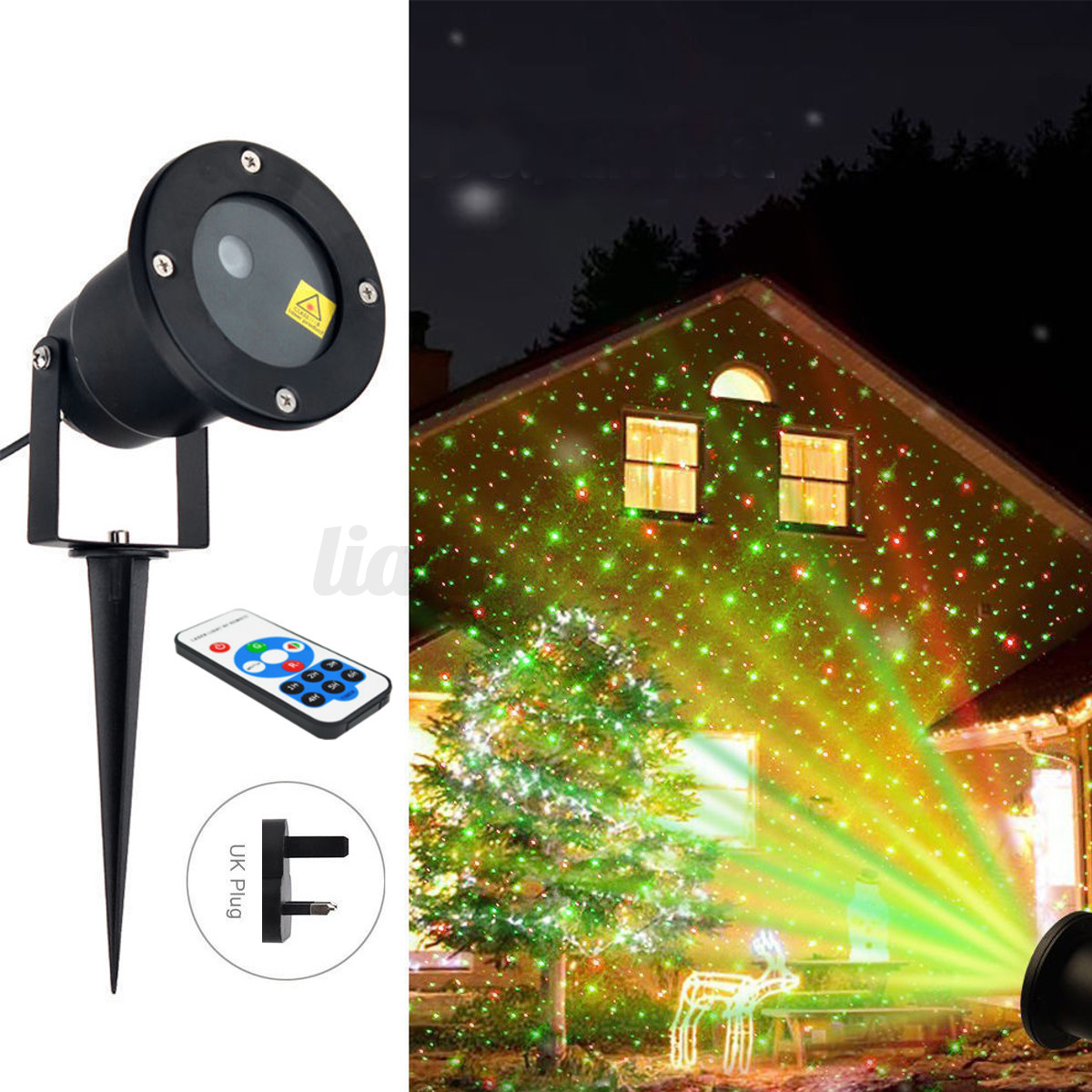led lampe projecteur laser de paysage halloween no l. Black Bedroom Furniture Sets. Home Design Ideas