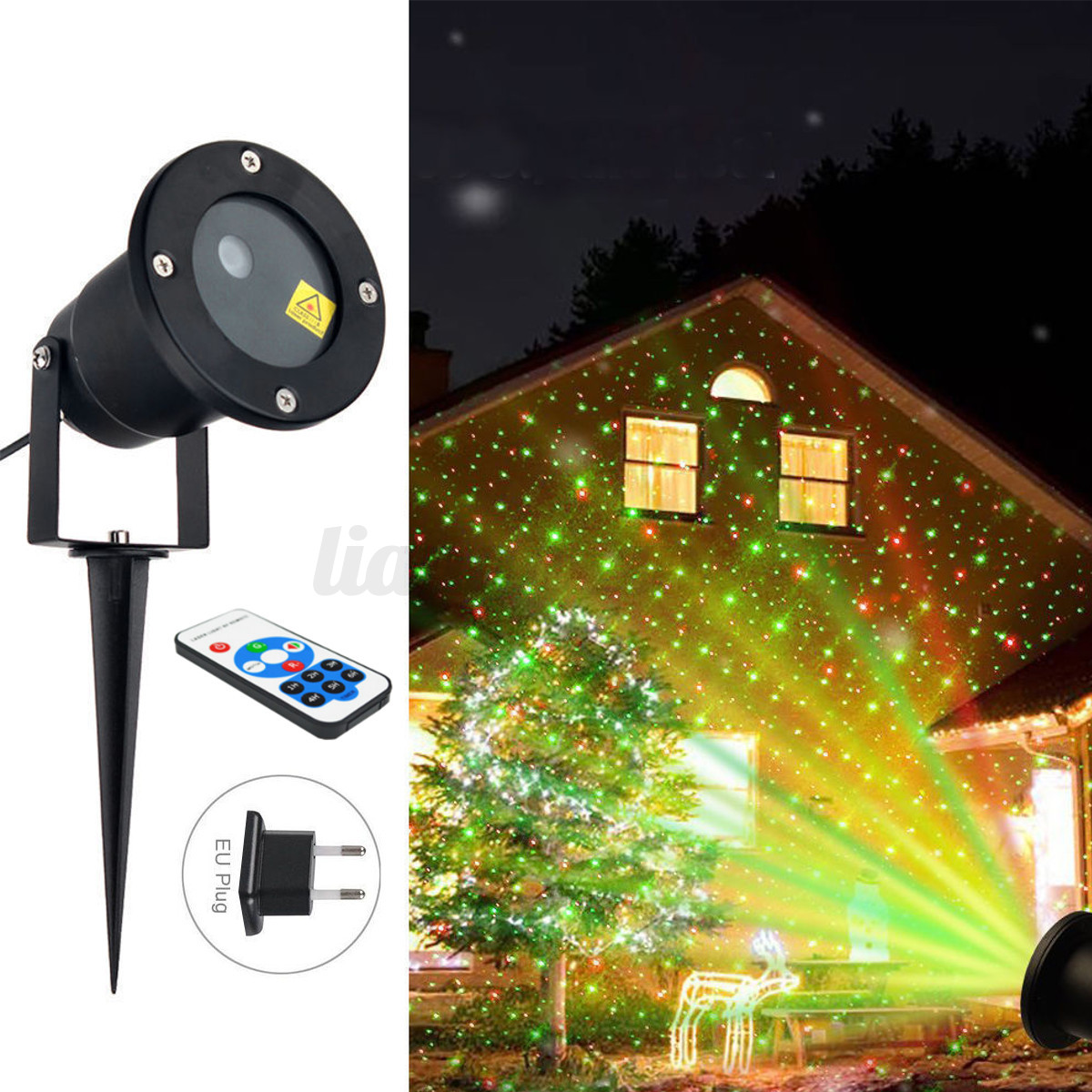 led lampe projecteur laser de paysage halloween no l ext rieur t l commande ebay. Black Bedroom Furniture Sets. Home Design Ideas