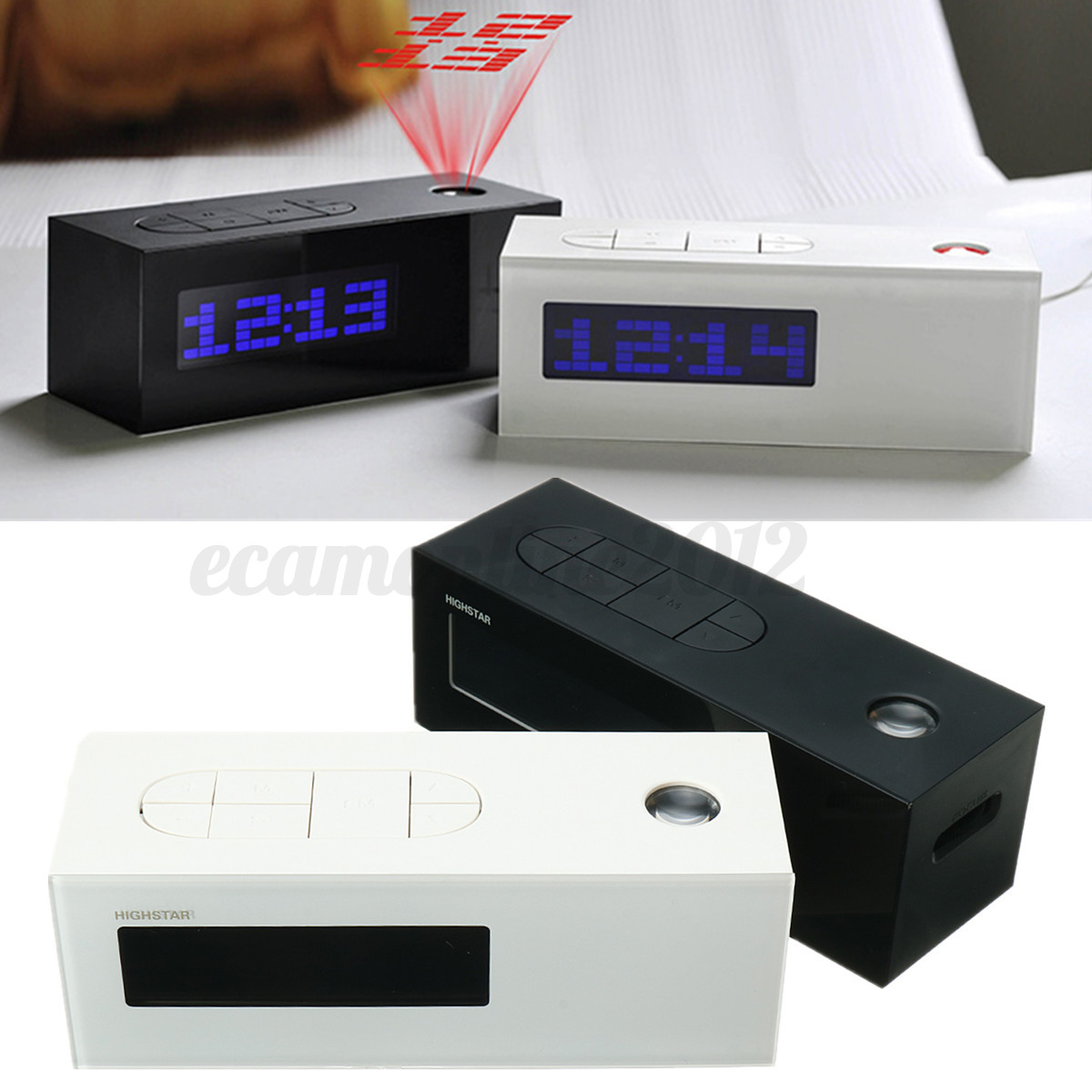 lcd display digital time projector alarm clock fm radio thermometer backlight. Black Bedroom Furniture Sets. Home Design Ideas