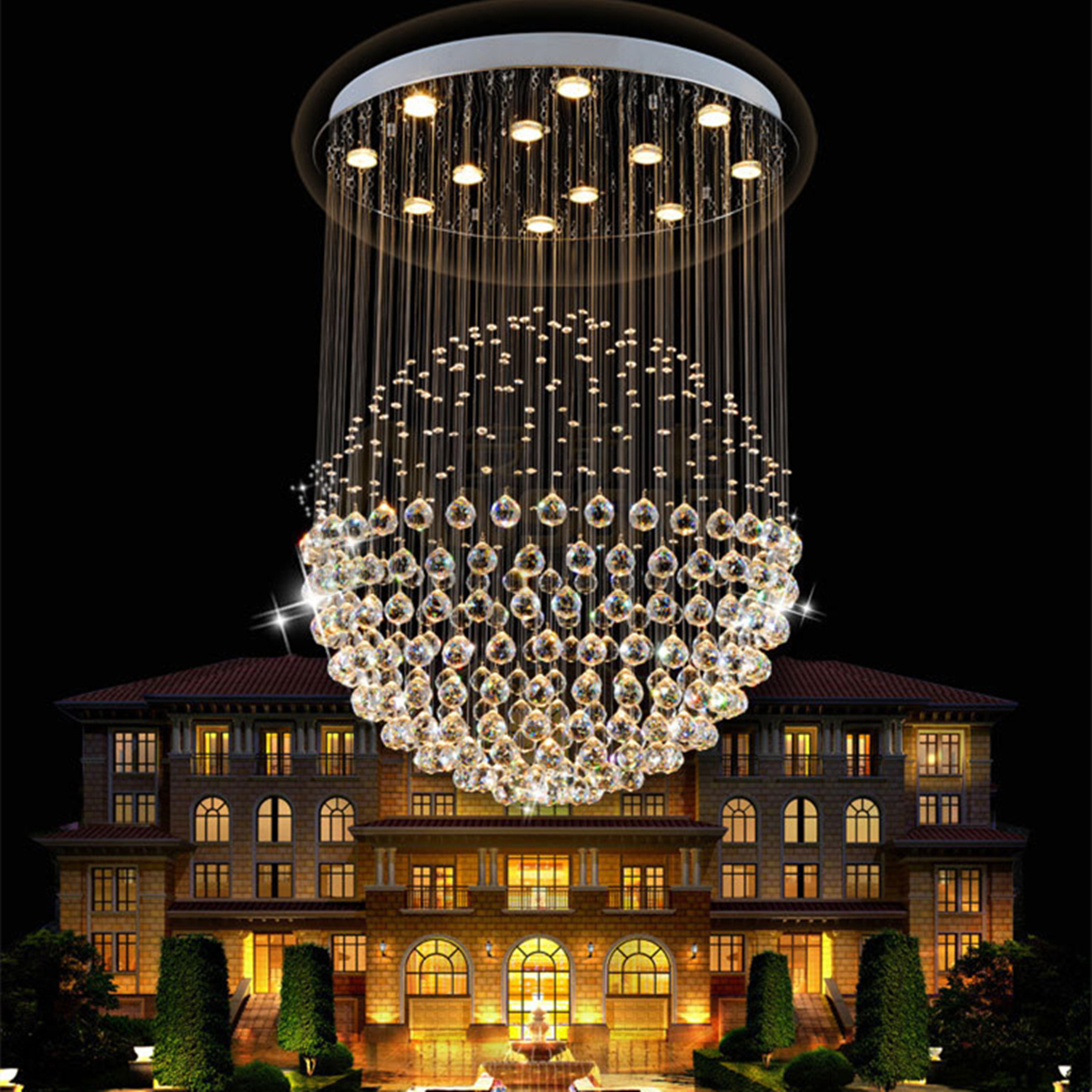 led luxe lampe boule cristal suspension plafonnier lustre luminaire eclairage ebay. Black Bedroom Furniture Sets. Home Design Ideas