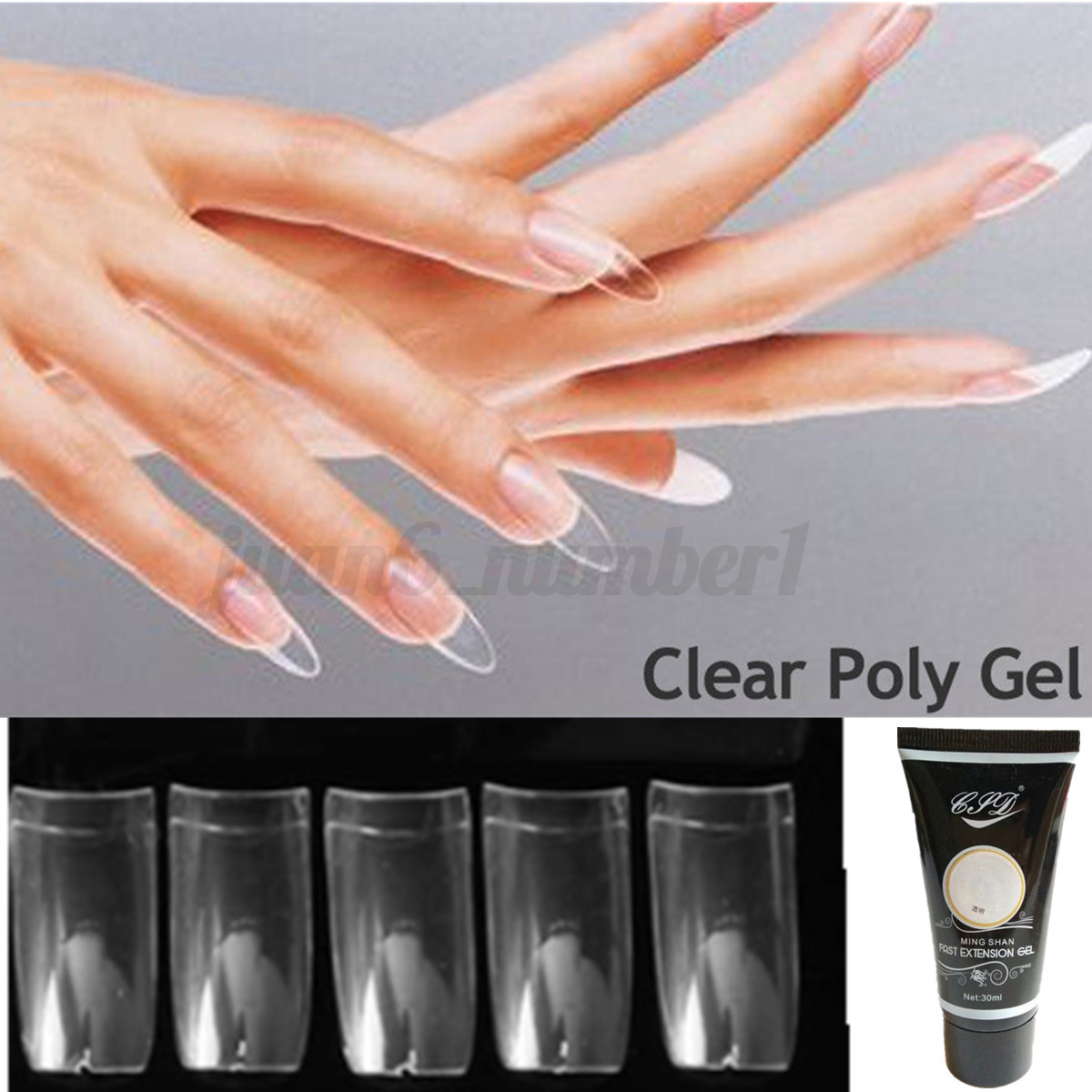 Image Is Loading Poly Gel Kit Clear Nails Builder