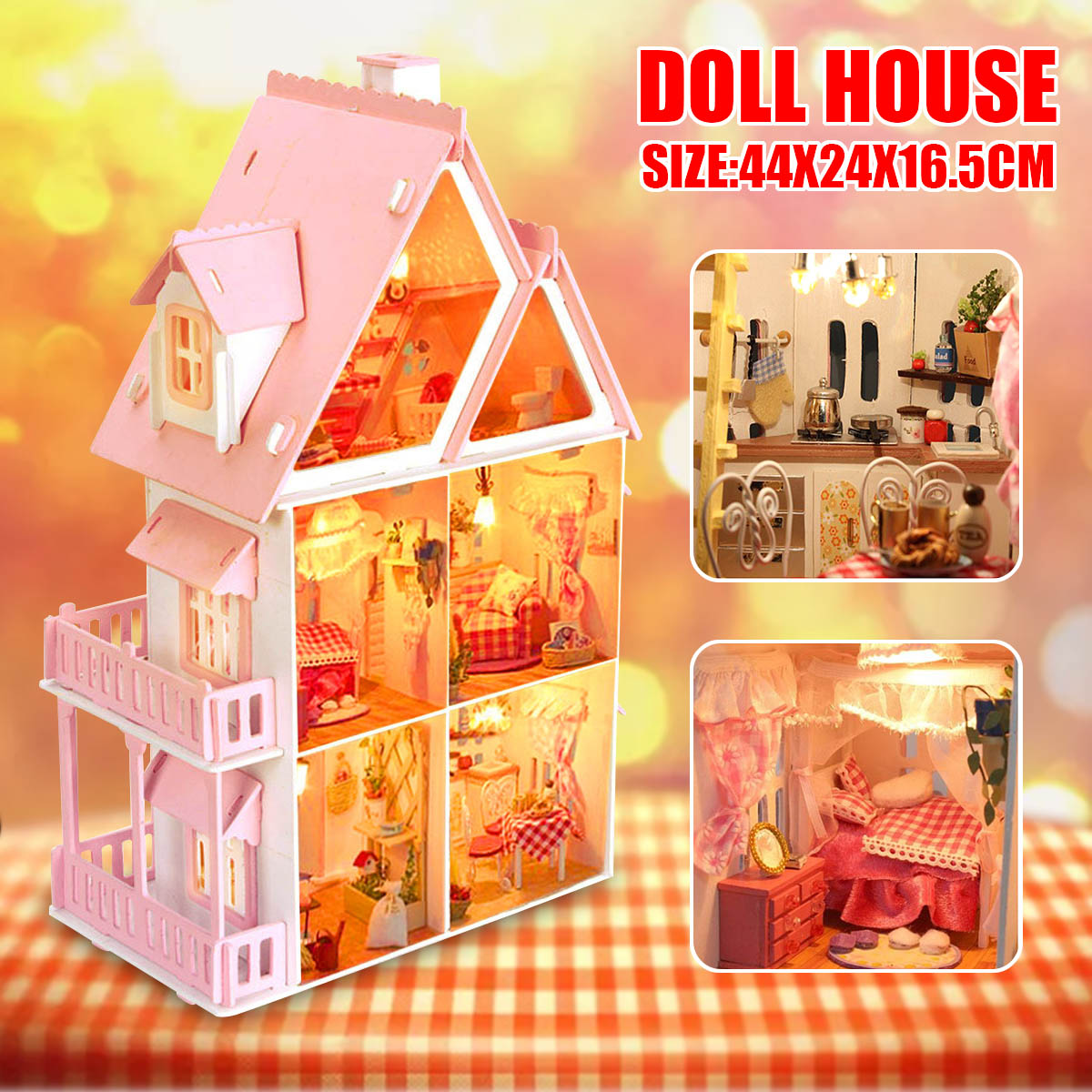 Details About Modern Doll House Kit Wooden Kids Girls Play Dollhouse Mansion Furniture Toy Diy