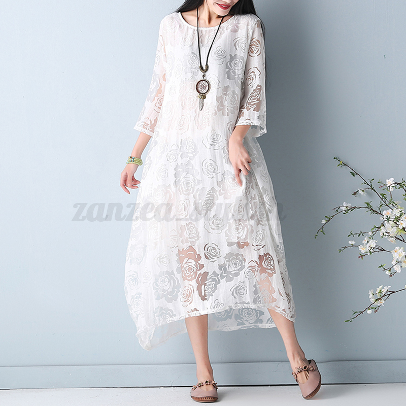 Women-Summer-Floral-Party-Dress-Beach-Evening-Cocktail-Plus-Size-Lace-Sundress
