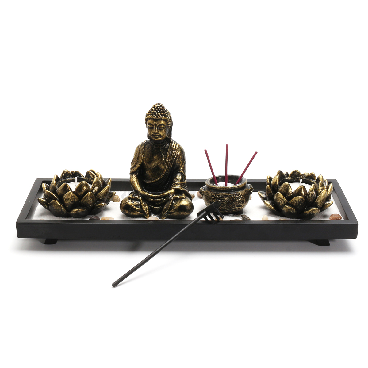 zen garden sand tray kit buddha meditation incense burner rake feng shui decor ebay. Black Bedroom Furniture Sets. Home Design Ideas