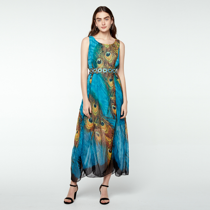 34-48 Boho Damen Peacock Chiffon Ärmellos Strand Kleider Sleeveless Floral Dress