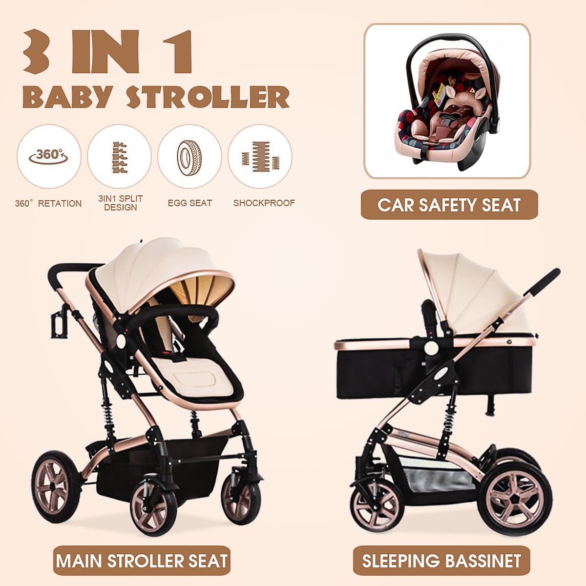 Baby Stroller 3 in 1 Pram Foldable Pushchair Luxury Travel System Anti-explosion