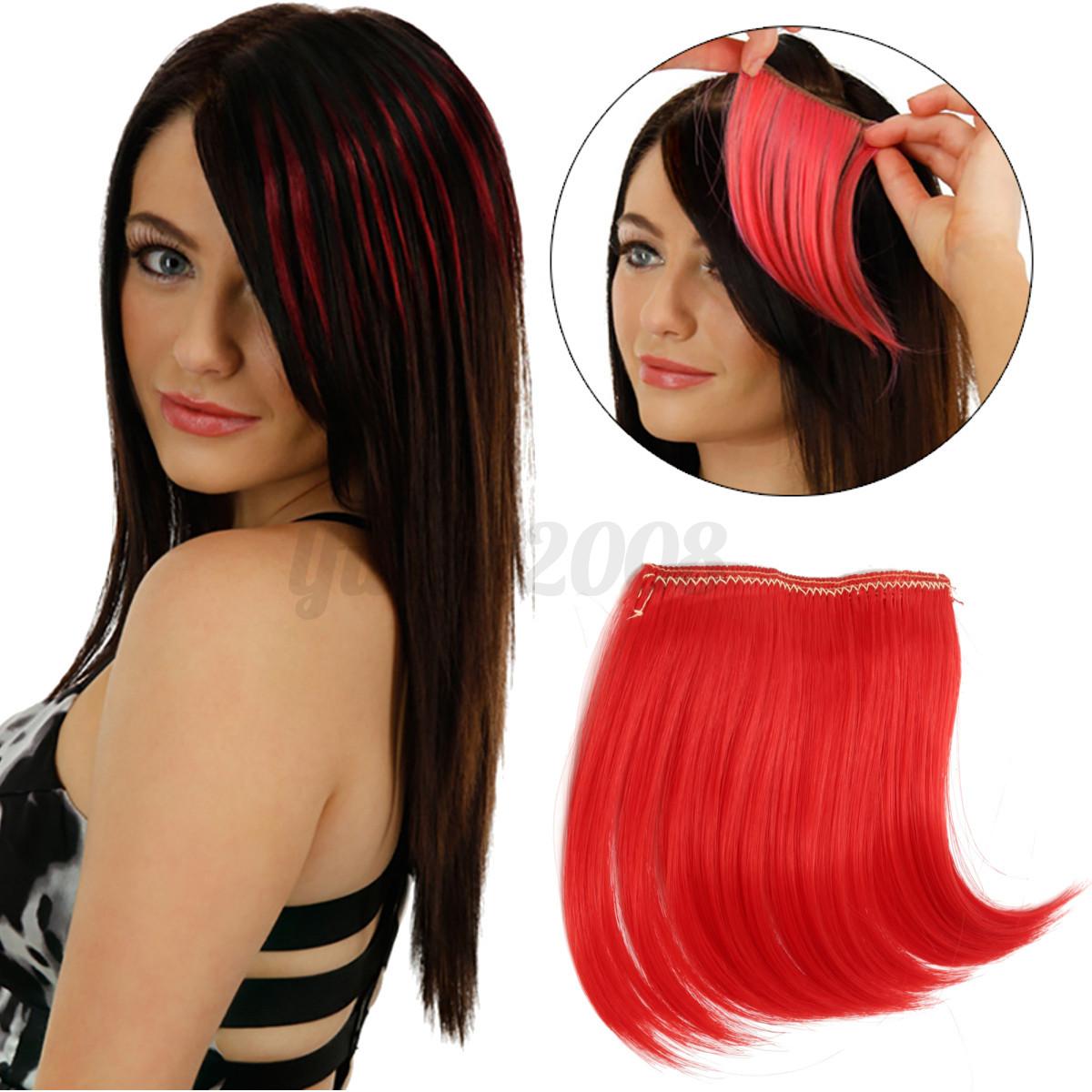 Femme-Filles-Fausse-Frange-a-2-Clip-Droit-Bob-Perruque-Cheveux-Extension-Couleur
