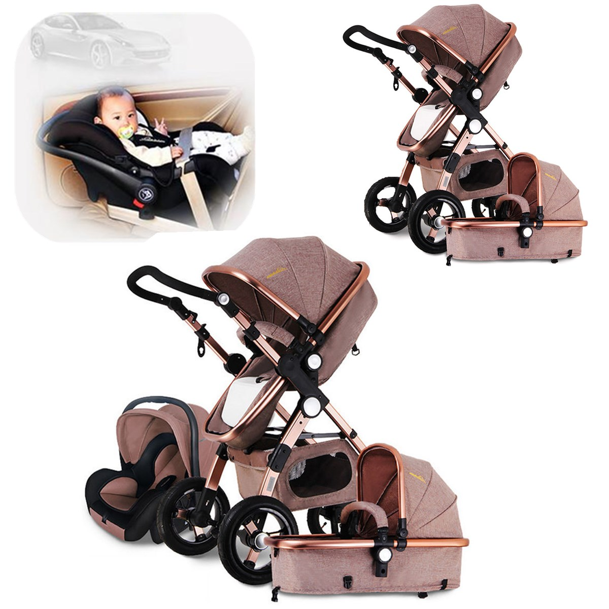 3 in 1 luxury baby stroller high view pram foldable pushchair bassinet car seat ebay. Black Bedroom Furniture Sets. Home Design Ideas