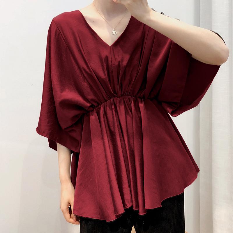 ZANZEA-8-24-Women-Batwing-Sleeve-Top-Tee-T-Shirt-Ruched-Loose-Plus-Size-Blouse thumbnail 14