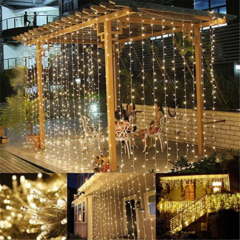 3x3m 300 led solar fairy string curtain lights lamp outdoor garden 3x3m 300 led solar fairy string curtain lights aloadofball Image collections
