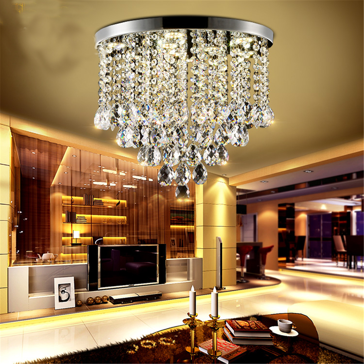 Modern crystal pendant light ceiling lamp chandelier for B q living room lights