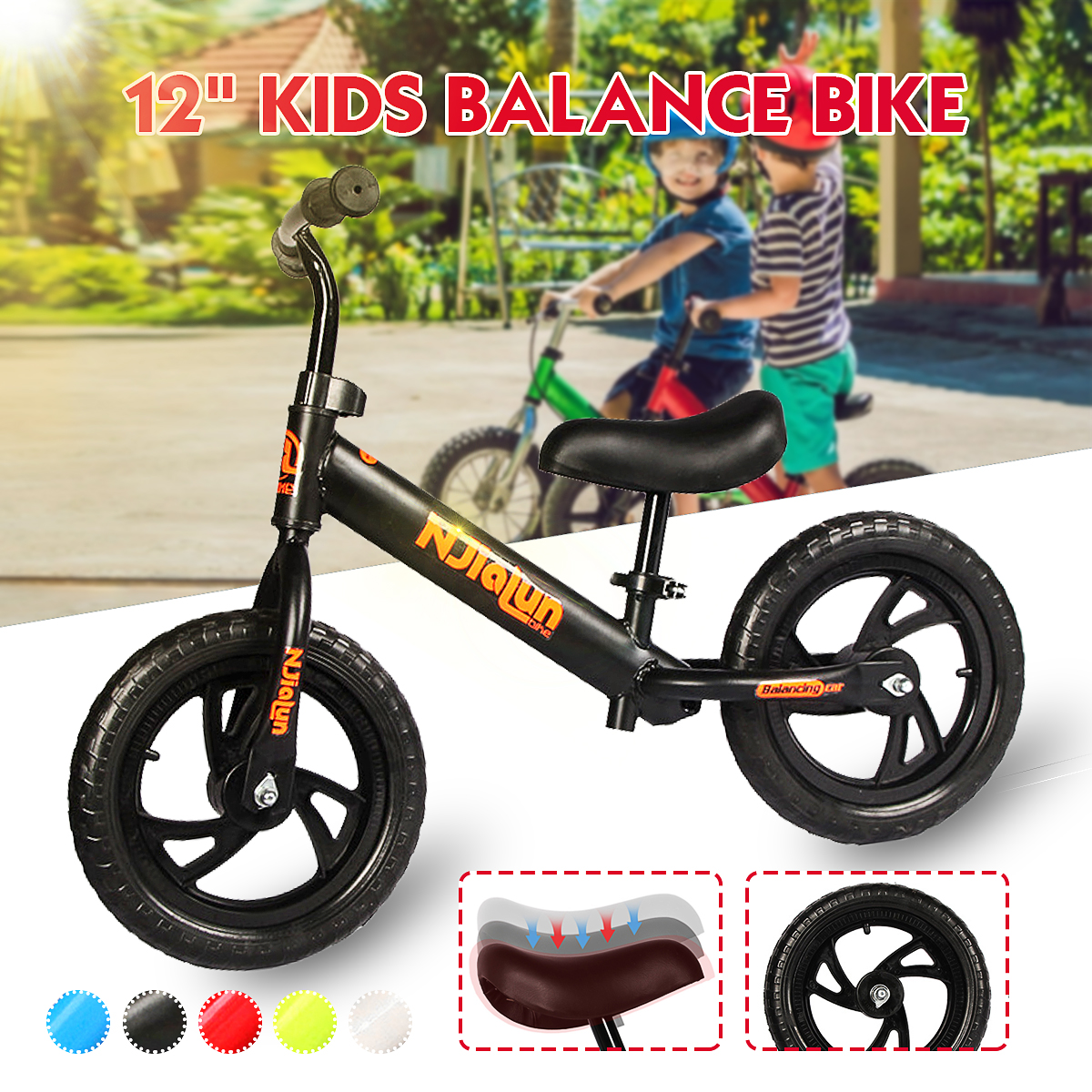 Adjustable 12/'/' Kids Balance Training Bike No-Pedal Learn Ride Pre Push Bicycle