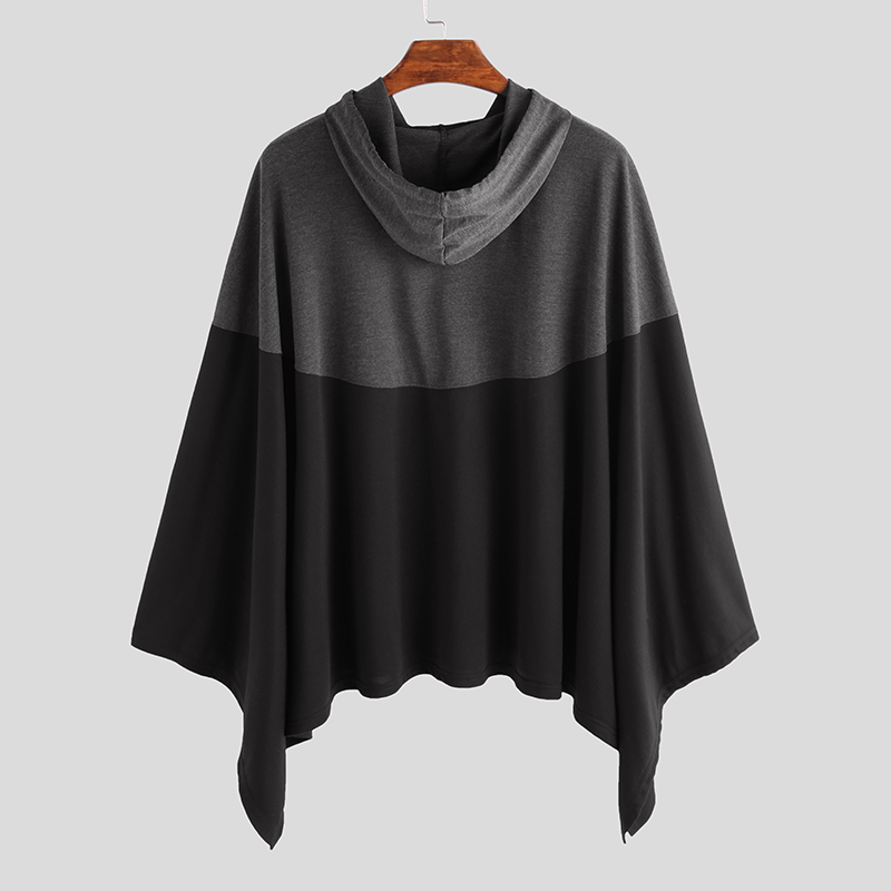 Mens Hoodies Cardigans Cotton Poncho Capes Outerwear Casual Punk Overcoat A121