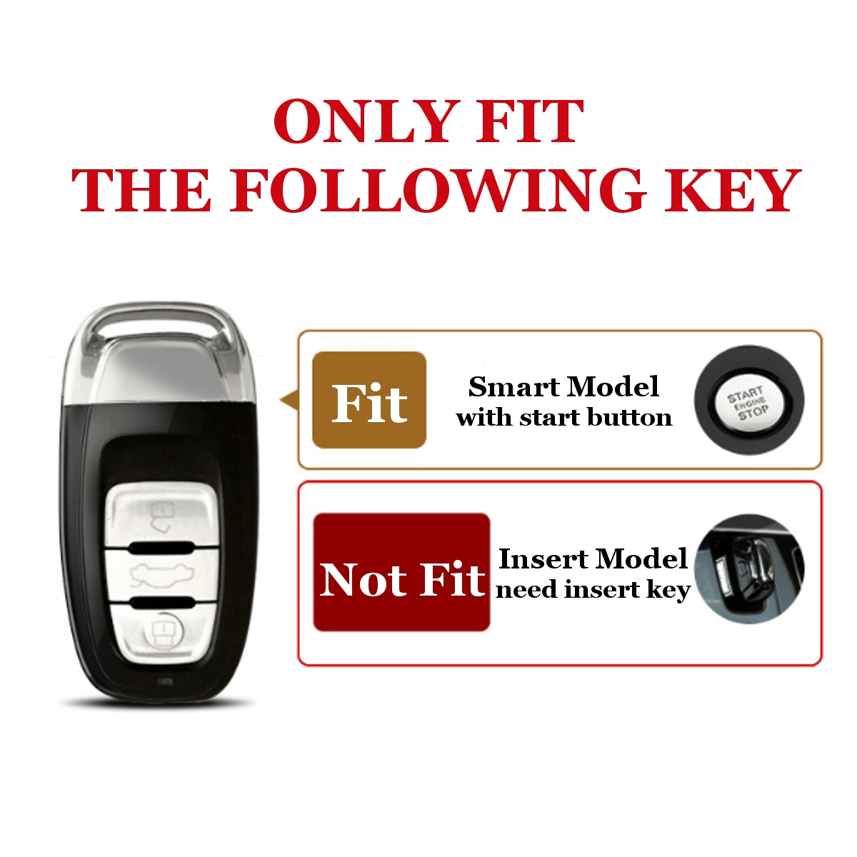 Remote Smart Key Case Cover Fob Shell ABS For Audi A3 A4