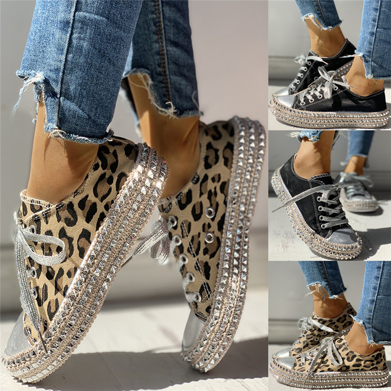 Women-039-s-Leopard-Rivet-Embellished-Canvas-Shoes-Mid-Heel-Lace-Up-Sneakers-Casual thumbnail 2