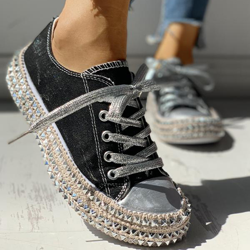 Women-039-s-Leopard-Rivet-Embellished-Canvas-Shoes-Mid-Heel-Lace-Up-Sneakers-Casual thumbnail 12