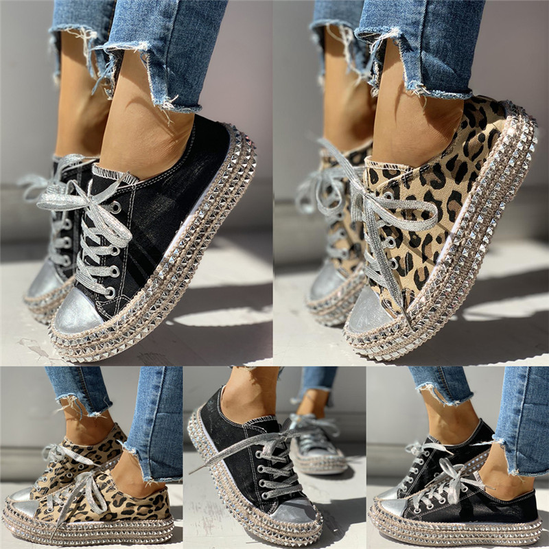 Women-039-s-Leopard-Rivet-Embellished-Canvas-Shoes-Mid-Heel-Lace-Up-Sneakers-Casual