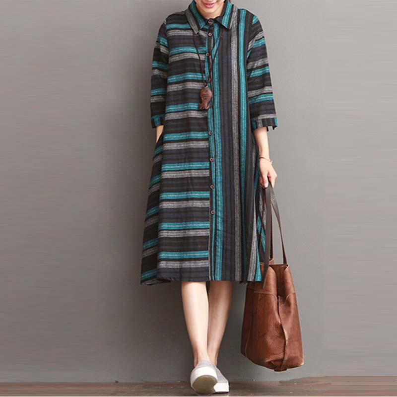 ZANZEA-10-24-Women-Summer-3-4-Sleeve-A-Line-Casual-Party-Plus-Size-Stripe-Dress
