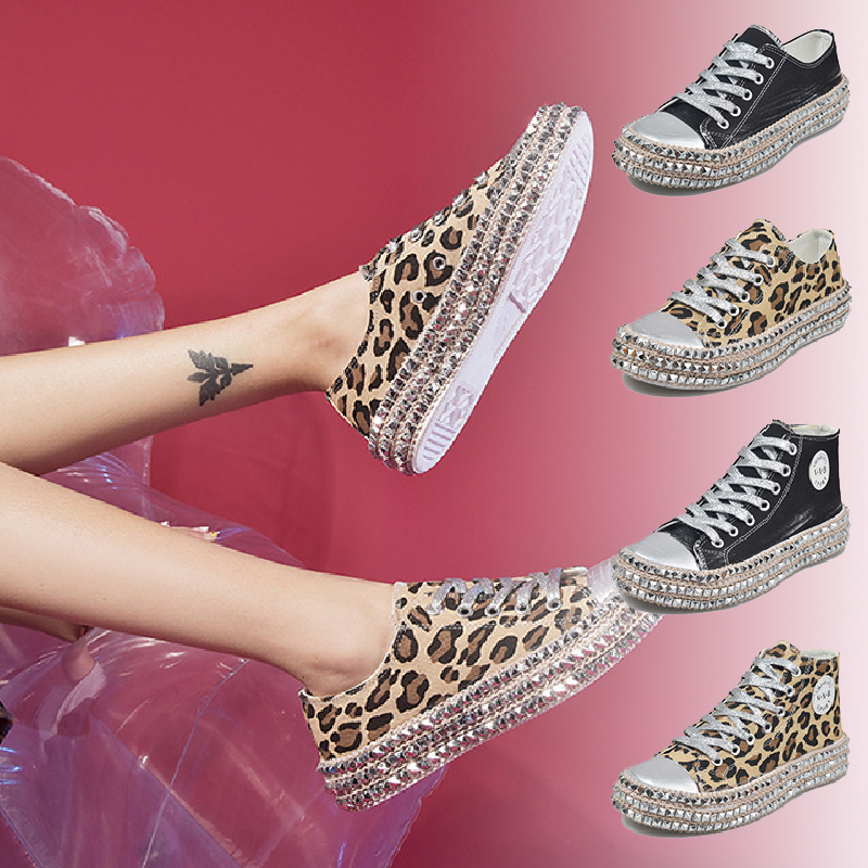 Women-039-s-Leopard-Rivet-Embellished-Canvas-Shoes-Mid-Heel-Lace-Up-Sneakers-Casual thumbnail 4