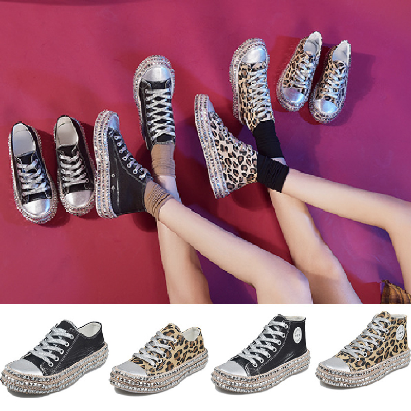 Women-039-s-Leopard-Rivet-Embellished-Canvas-Shoes-Mid-Heel-Lace-Up-Sneakers-Casual thumbnail 6