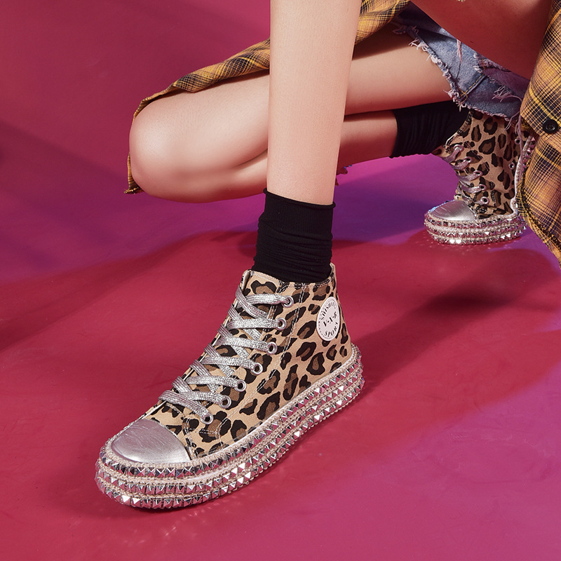 Women-039-s-Leopard-Rivet-Embellished-Canvas-Shoes-Mid-Heel-Lace-Up-Sneakers-Casual thumbnail 8