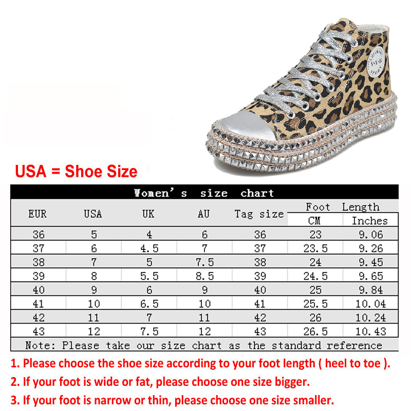Women-039-s-Leopard-Rivet-Embellished-Canvas-Shoes-Mid-Heel-Lace-Up-Sneakers-Casual thumbnail 7