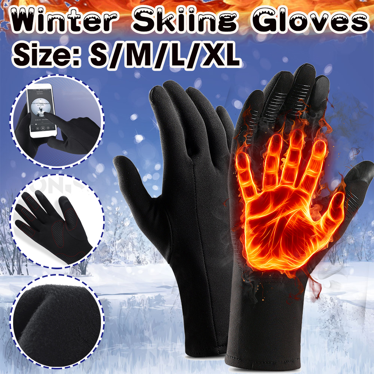 Winter Touch Screen Outdoor Driving Warm Windproof Waterproof Mens Women Gloves